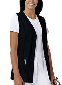 Cherokee Button Front Vest Black (1602-BLKB)