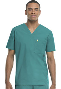 Code Happy Men's V-Neck Top Teal (16600AB-TLCH)