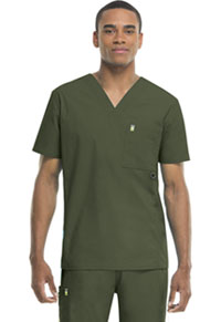 Code Happy Men's V-Neck Top Olive (16600A-OLCH)