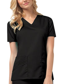 Cherokee V-Neck Top Black (1845-BLKV)