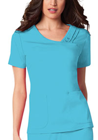 Cherokee Crossover V-Neck Pin-Tuck Top Blue Wave (1999-BLUV)