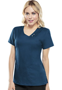 Cherokee Crossover V-Neck Pin-Tuck Top Caribbean Blue (1999-CARV)
