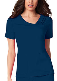 Cherokee Crossover V-Neck Pin-Tuck Top Navy (1999-NAVV)