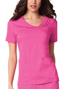 Cherokee Crossover V-Neck Pin-Tuck Top Fuchsia Rose (1999-ROSV)
