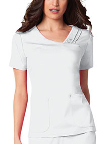 Cherokee Crossover V-Neck Pin-Tuck Top White (1999-WHTV)