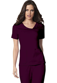 Cherokee Crossover V-Neck Pin-Tuck Top Wine (1999-WINV)