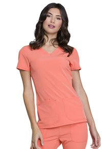 HeartSoul Pitter-Pat Shaped V-Neck Top Orange Pop (20710-ORNH)