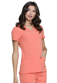 "HeartSoul Break on Through ""Pitter-Pat"" Shaped V-Neck Top in Orange Pop (20710-ORNH)"