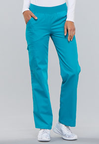 Cherokee Mid Rise Knit Waist Pull-On Pant Teal Blue (2085-TELB)