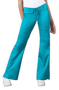 Cherokee Low Rise Flare Leg Drawstring Cargo Pant Blue Wave (21100-BLUV)