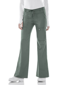 Luxe Low Rise Flare Leg Drawstring Cargo Pant (21100-OLIV) (21100-OLIV)