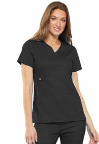 Cherokee Empire Waist Mock Wrap Top Black (21701-BLKV)