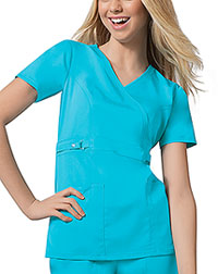 Cherokee Empire Waist Mock Wrap Top Blue Wave (21701-BLUV)
