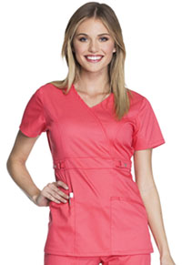 Cherokee Mock Wrap Top Fire Coral (21701-FICL)