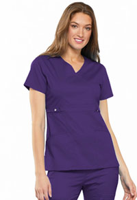 Cherokee Empire Waist Mock Wrap Top Nu-Grape (21701-GRPV)