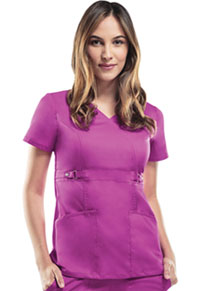 Cherokee Empire Waist Mock Wrap Top Pink Violet (21701-PVIV)