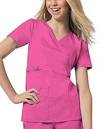 Cherokee Empire Waist Mock Wrap Top Fuchsia Rose (21701-ROSV)