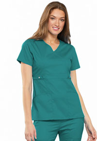 Cherokee Empire Waist Mock Wrap Top Teal (21701-TEAV)