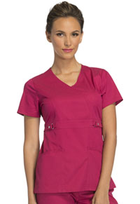 Cherokee Empire Waist Mock Wrap Top Up-Beet (21701-UPBT)