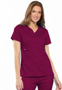 Cherokee Empire Waist Mock Wrap Top Wine (21701-WINV)