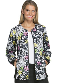 Cherokee Zip Front Knit Panel Warm-Up Jacket Bouquet Me Not (2315C-BOMN)