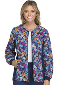 Cherokee Zip Front Knit Panel Warm-Up Jacket Dot-ful Daisy (2315C-DTSD)