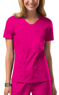 Cherokee Workwear V-Neck Top Shocking Pink (24703-SHPW)
