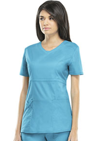 Cherokee Workwear V-Neck Top Turquoise (24703-TRQW)