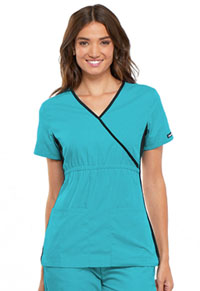Cherokee Mock Wrap Knit Panel Top Turquoise (2500-TRQB)