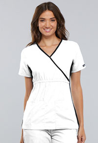 Cherokee Mock Wrap Knit Panel Top White (2500-WHTS)