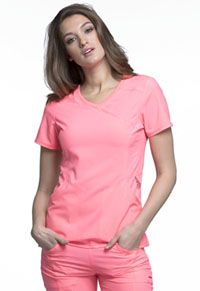 Cherokee Mock Wrap Top Coral Craze (2625A-COCR)