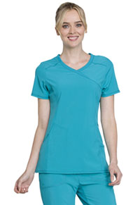 Cherokee Mock Wrap Top Teal Blue (2625A-TLPS)