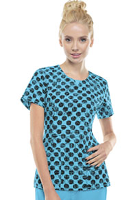 Cherokee Round Neck Top Dot Pursuit Turquoise (2629A-DTPU)