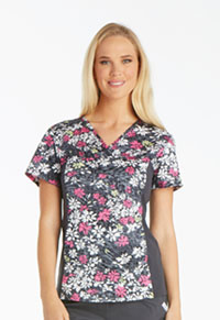 Cherokee V-Neck Knit Panel Top Those Were The Daisies (2812-THDA)