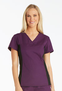 Cherokee V-Neck Knit Panel Top Eggplant (2874-EGPB)