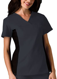 V-Neck Knit Panel Top Pewter (2874-PWTB)