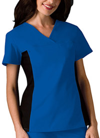 Cherokee V-Neck Knit Panel Top Royal (2874-RYLB)