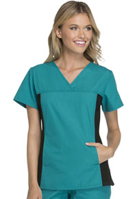 Cherokee V-Neck Knit Panel Top Teal Blue (2874-TELB)