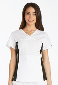 Cherokee V-Neck Knit Panel Top White (2874-WHTS)