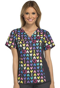 Cherokee V-Neck Knit Panel Top A Cause To Care (2875C-AUCA)