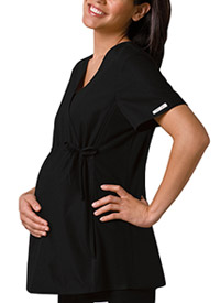 Cherokee Maternity Mock Wrap Knit Panel Top Black (2892-BLKB)