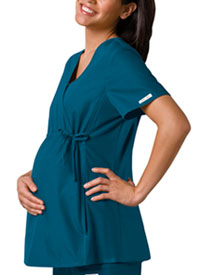 Cherokee Maternity Mock Wrap Knit Panel Top Caribbean (2892-CABB)