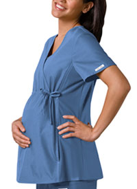 Cherokee Maternity Mock Wrap Knit Panel Top Ciel (2892-CIEB)