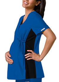 Maternity Mock Wrap Knit Panel Top Royal (2892-RYLB)