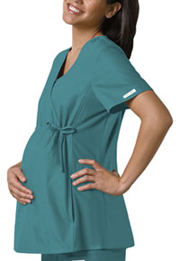 Cherokee Maternity Mock Wrap Knit Panel Top Teal Blue (2892-TELB)