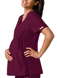 Cherokee Maternity Mock Wrap Knit Panel Top Wine (2892-WNEB)