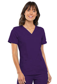 Cherokee V-Neck Knit Panel Top Eggplant (2968-EGPB)