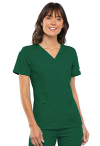Cherokee V-Neck Knit Panel Top Hunter Green (2968-HNTB)