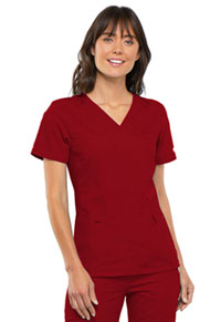 Cherokee V-Neck Knit Panel Top Red (2968-REDB)