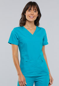 Cherokee V-Neck Knit Panel Top Teal Blue (2968-TELB)
